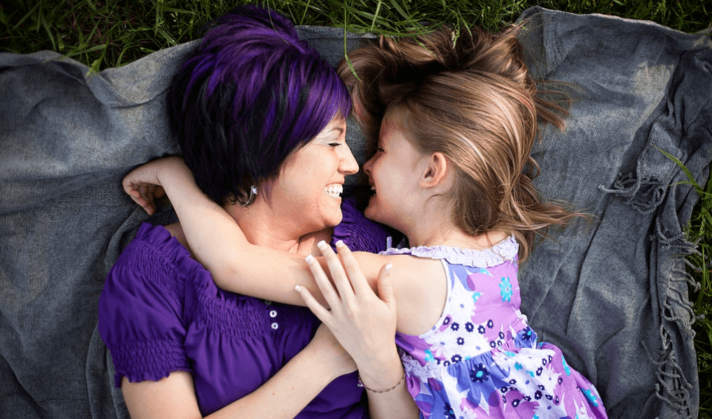 Purple Hair Dye little girl with mother