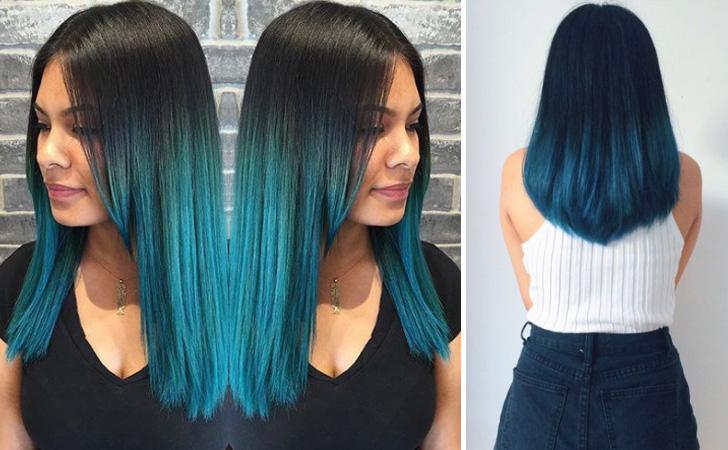 Aqua Blue Ombre Hair