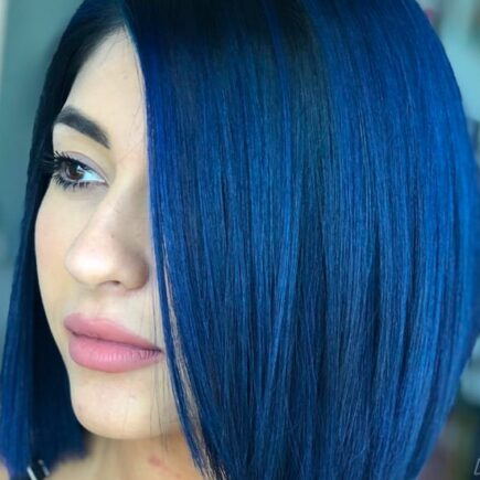 girl with dark blue hair