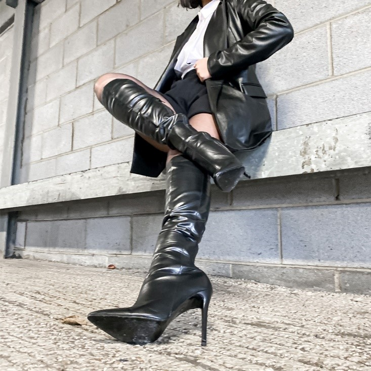XY London Nora Pointed Toe Zip Fastening Knee High Stiletto Heeled Boots in Black PU